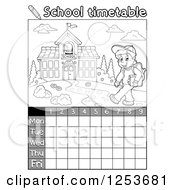 Grayscale Weekly School Timetable With A Boy Walking