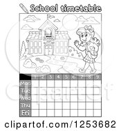 Grayscale Weekly School Timetable With A Girl Walking