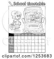 Grayscale Weekly School Timetable With Students And A Bus