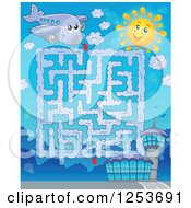 Clipart Of A Happy Airplane And Airport Maze Royalty Free Vector Illustration by visekart