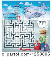 Clipart Of A Happy Tourist Airplane And Airport Maze Royalty Free Vector Illustration by visekart