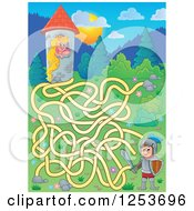 Clipart Of A Rapunzel And Knight Maze Royalty Free Vector Illustration by visekart
