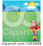 Clipart Of A Football Player Boy Maze Royalty Free Vector Illustration
