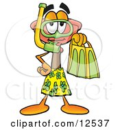 Sink Plunger Mascot Cartoon Character in Green and Yellow Snorkel Gear