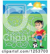 Clipart Of A Soccer Player Boy Maze Royalty Free Vector Illustration