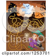 Clipart Of A Flying Witch And Haunted House Halloween Maze Royalty Free Vector Illustration