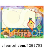 Clipart Of A Blank Board And Autumn Border With Kites Royalty Free Vector Illustration by visekart
