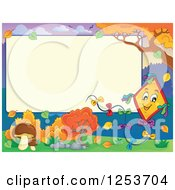 Clipart Of A Blank Board And Autumn Border With A Kite Royalty Free Vector Illustration by visekart
