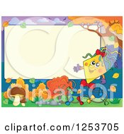 Clipart Of A Blank Board And Autumn Border With A Presenting Kite Royalty Free Vector Illustration by visekart