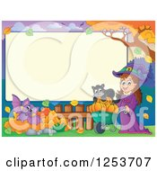 Clipart Of A Blank Board And Autumn Border With A Halloween Witch Bat And Cat Royalty Free Vector Illustration