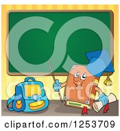 Clipart Of A Professor Book And Chalk Board Royalty Free Vector Illustration