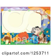 Clipart Of A Blank Board And Autumn Border With A School Dog Royalty Free Vector Illustration