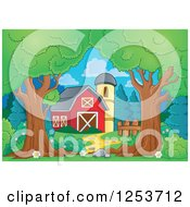 Clipart Of Trees Framing A Barn And Silo Royalty Free Vector Illustration