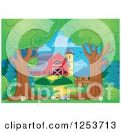 Clipart Of Trees Framing A Red Barn And Silo Royalty Free Vector Illustration