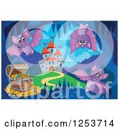 Clipart Of A Treasure Chest And Bats In A Cave Near A Castle Royalty Free Vector Illustration