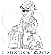 Clipart Of A Black And White Happy Man Traveler With Luggage Royalty Free Vector Illustration