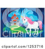 Clipart Of A Unicorn In A Cave Near A Castle Royalty Free Vector Illustration by visekart