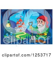 Clipart Of A Dwarf In A Cave Near A Castle Royalty Free Vector Illustration by visekart