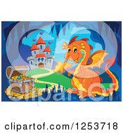 Clipart Of An Orange Fire Breathing Dragon And Treasure In A Cave Near A Castle Royalty Free Vector Illustration