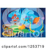 Clipart Of A Blue Fire Breathing Dragon And Treasure In A Cave Near A Castle Royalty Free Vector Illustration