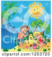 Clipart Of A White Boy And Girl Making A Sand Castle On A Sunny Tropical Beach Royalty Free Vector Illustration