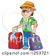 Happy Brunette White Man Traveler With Luggage