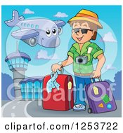 Clipart Of A Happy Airplane Flying Over A White Man Traveler With Luggage At An Airport Royalty Free Vector Illustration