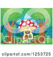 Clipart Of Trees Framing A Mushroom House Royalty Free Vector Illustration by visekart