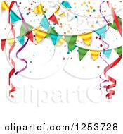 Clipart Of A Festive Party Bunting Flag Banner Over White With Ribbons And Text Space Royalty Free Vector Illustration by vectorace