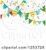Clipart Of A Festive Party Bunting Flag Banner Over White With Confetti And Text Space Royalty Free Vector Illustration by vectorace