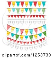 Clipart Of Festive Party Bunting Flag Banners Over White Royalty Free Vector Illustration by vectorace