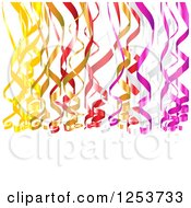 Clipart Of A Background Of Colorfuld Party Ribbons Over White Royalty Free Vector Illustration by vectorace
