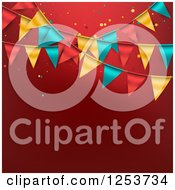 Clipart Of A Festive Party Bunting Flag Banner Over Red With Text Space Royalty Free Vector Illustration by vectorace