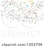 Clipart Of A Festive White Party Bunting Flag Banner With Text Space Royalty Free Vector Illustration by vectorace