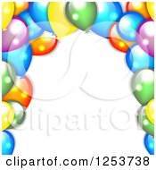 Clipart Of A Background Of Colorful Party Balloons On White Royalty Free Vector Illustration