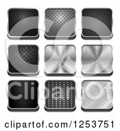 Clipart Of 3d Square Metal Textured Icons Royalty Free Vector Illustration