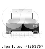 Clipart Of A 3d Desktop Printer And Paper Royalty Free Vector Illustration