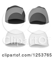 Clipart Of Gray And White Beanie Hats With Shadows Royalty Free Vector Illustration