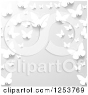 Clipart Of A Border Of 3d White Paper Butterflies On Gray Royalty Free Vector Illustration by vectorace #COLLC1253769-0166