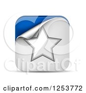 Clipart Of A 3d Peeling White And Blue Star Square Icon And Shadow Royalty Free Vector Illustration