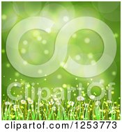 Clipart Of A Green Spring Flower And Grass Background Royalty Free Vector Illustration by vectorace