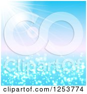 Clipart Of A Summer Sun Shining Over The Ocean Royalty Free Vector Illustration