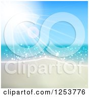 Clipart Of A Summer Sun Shining Over The Ocean And Beach Royalty Free Vector Illustration by vectorace
