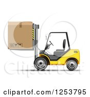 Clipart Of A 3d Yellow Forklift Machine Moving A Box Royalty Free Vector Illustration