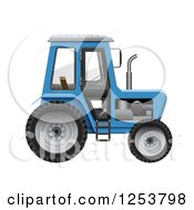Clipart Of A 3d Blue Tractor Royalty Free Vector Illustration