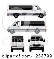 Clipart Of 3d Long Passenger Vans Royalty Free Vector Illustration by vectorace