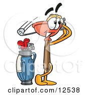 Sink Plunger Mascot Cartoon Character Swinging His Golf Club While Golfing