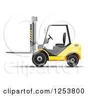 Clipart Of A 3d Yellow Forklift Machine Royalty Free Vector Illustration by vectorace