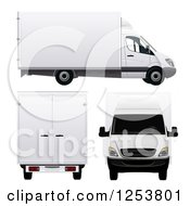 Clipart Of 3d White Moving Vans Royalty Free Vector Illustration by vectorace