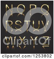 Clipart Of A 3d Capital Gold And Diamond Alphabet Letters N Through Z On Black Royalty Free Vector Illustration by vectorace
